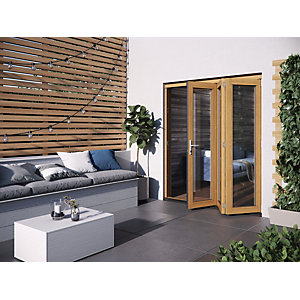 Jeld-Wen Kinsley Finished Solid Hardwood Patio Bifold Door Set Golden Oak