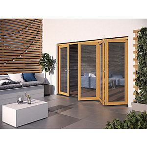 Jeld Wen Kinsley Finished Solid Hardwood Patio Bifold Door Set Golden Oak
