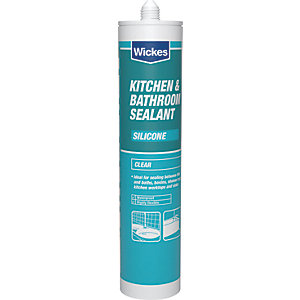 Wickes Kitchen & Bathroom Silicone Sealant - Clear 310ml