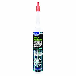Wickes Mould Protect Shower and Bathroom Silicone Sealant - Clear 310ml