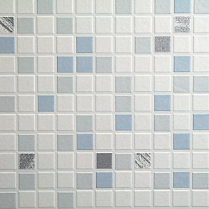 Graham U0026 Brown Contour Checker Tile Effect Decorative Wallpaper Blue   10m