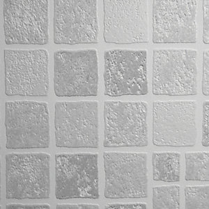 Graham & Brown Contour Earthen Tile Effect Decorative Wallpaper Grey - 10m