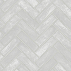 Graham & Brown Contour Lustro Silver Decorative Wallpaper -10m