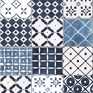 Graham & Brown Contour Porches Blue Decorative Wallpaper - 10m