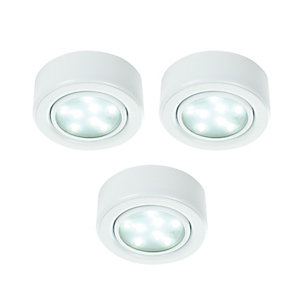 Wickes LED Round Under Cabinet Light - White Pack of 3