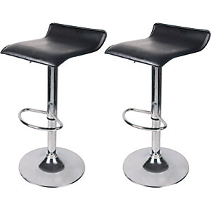 Black & Chrome Effect Bar Stools - Pack of 2