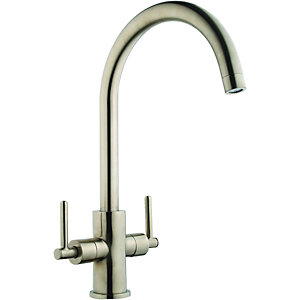 Wickes Chanab Monobloc Brushed Kitchen Mixer Sink Tap