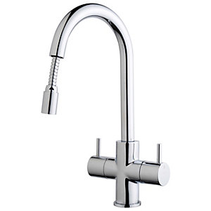 Wickes Kisdon Monobloc Pull Out Kitchen Sink Mixer Tap - Chrome