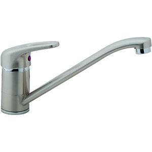 Wickes Messina Mono Mixer Kitchen Sink Tap Brushed Nickel