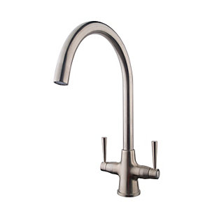 Wickes Toba Monobloc Kitchen Sink Mixer Tap - Brushed Nickel