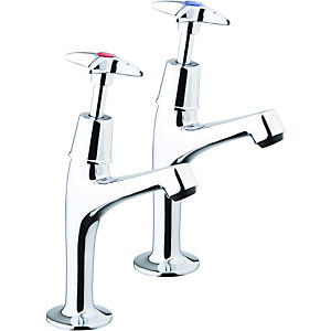Wickes Trade Kitchen Sink Crosshead Pillar Taps - Chrome