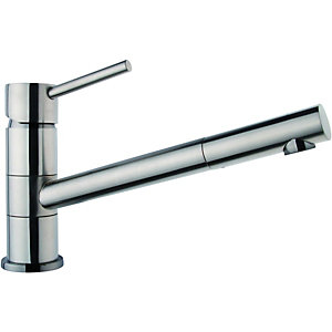 Wickes Tuya Single Lever Brushed Kitchen Mixer Sink Tap - Stainless Steel