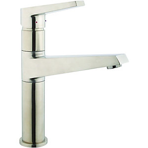 Wickes Vattna Single Lever Brushed Kitchen Sink Mixer Tap - Stainless Steel