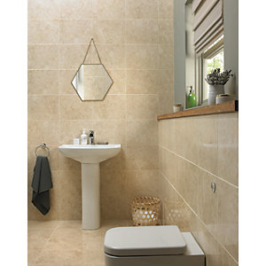 Wickes Amalfi Mocca Beige Ceramic Wall & Floor Tile 360 x 275mm