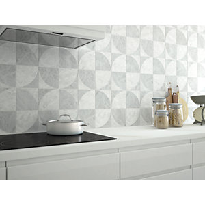 Wickes Azzara Connect White Decor Ceramic Tile 150 x 150mm