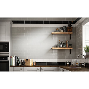 Wickes Cosmopolitan Black Ceramic Wall Tile 200 x 100mm