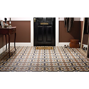 Wickes Dorset Marron Patterned Ceramic Wall & Floor Tile 316 x 316mm
