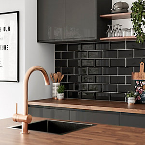 Wickes Metro Black Ceramic Tile 200 x 100mm
