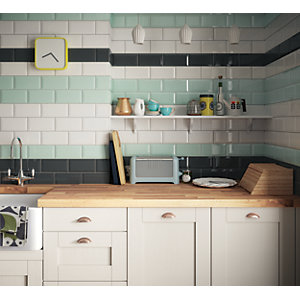 Wickes Metro Mint Green Ceramic Wall Tile 200 x 100mm