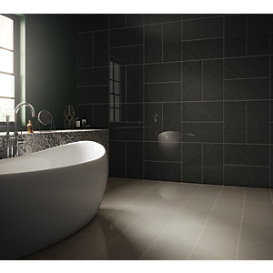 Wickes Norton Charcoal Porcelain Wall & Floor Tile 600 x 300mm
