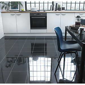 wickes polished granite black natural stone floor tile 305 x 305mm - Floor Tiles For Kitchen