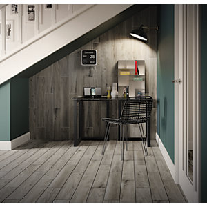Wickes Selwood Weathered Grey Wood Effect Porcelain Tile 900 x 150mm