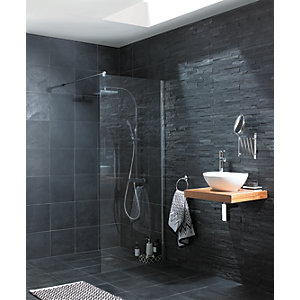 Wickes Slate Riven Grey Natural Stone Tile 300 X 300mm Wickescouk - Grey-bathroom-tile