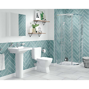 Wickes Soho Green Ceramic Wall Tile 300 x 100mm