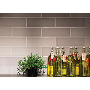 Wickes Soho Steel Ceramic Wall Tile 300 x 100mm