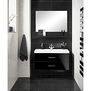 Wickes Starburst Quartz Black Natural Stone Tile 600 x 300mm