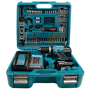 Makita DHP453SFTK 18V Combi Drill 1 X 3Ah Battery with 101 Piece Drill and Driver Set