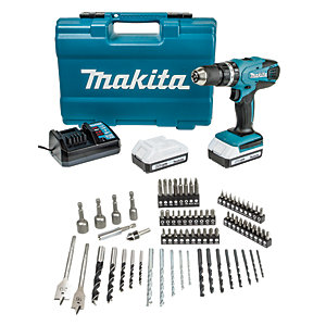 Makita HP457DWE10 18V Li-Ion 1.5Ah Cordless G-Series Combi Drill & 74 Piece Accessory Set