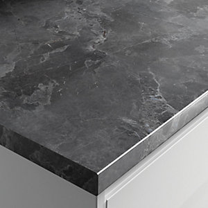 Wickes Gloss Laminate Worktop - Grey Marble 600mm x 38mm x 3m