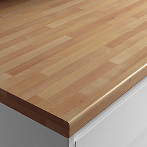 Wickes Laminate Worktop - Cherry Block Effect 600mm x 38mm x 3m