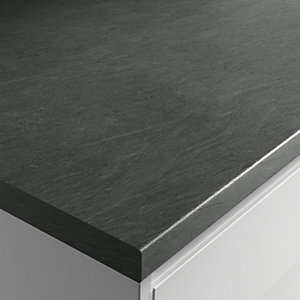 Wickes Textured Laminate Worktop - Grey Slate Effect 600mm x 38mm x 3m