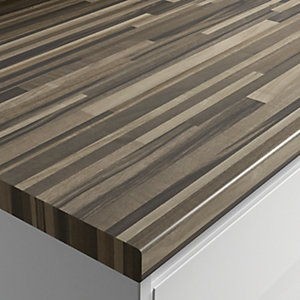 Wickes Wood Effect Laminate Worktop - Zebra Block 600mm x 38mm x 3m