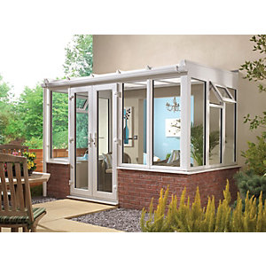 Wickes Lean To Dwarf Wall White Conservatory - 10 x 4 ft