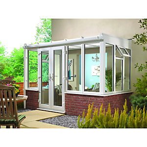 Wickes Lean To Dwarf Wall White Conservatory - 10 x 6 ft