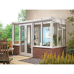 Wickes Lean To Dwarf Wall White Conservatory - 15 x 8 ft
