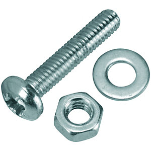 Wickes Machine Screws with Pozi Head, Nut & Washer - M4 x 20mm Pack of 10
