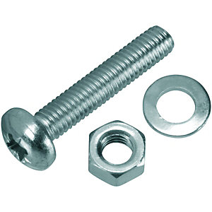Wickes Machine Screws with Pozi Head, Nut & Washer - M5 x 25mm Pack of 8