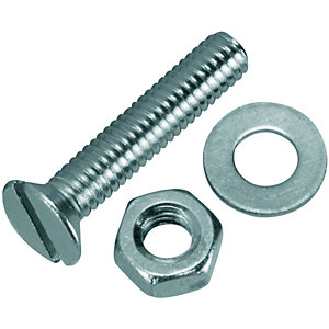 Wickes Machine Screws with Slot Head, Nut & Washer - M4 x 20mm Pack of 10