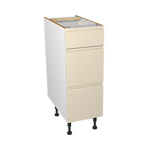 Wickes Madison Cream Gloss Handleless Drawer Unit - 300mm