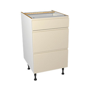 Wickes Madison Cream Gloss Handleless Drawer Unit - 500mm