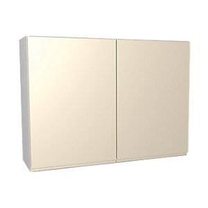 Wickes Madison Cream Gloss Handleless Wall Unit - 1000mm