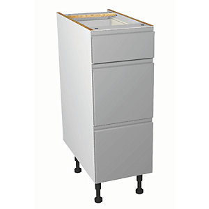 Wickes Madison Grey Gloss Handleless Drawer Unit - 300mm
