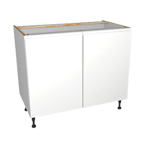 Wickes Madison White Gloss Handleless Base Unit - 1000mm