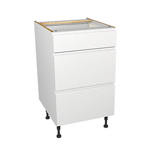 Wickes Madison White Gloss Handleless Drawer Unit - 500mm