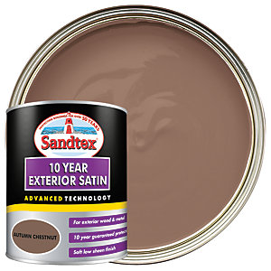 Sandtex 10 Year Exterior Satin Paint - Autumn Chestnut 750ml