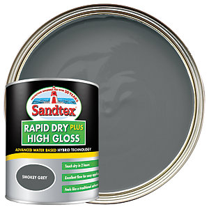 Sandtex Rapid Dry Plus High Gloss Paint - Smokey Grey 750ml